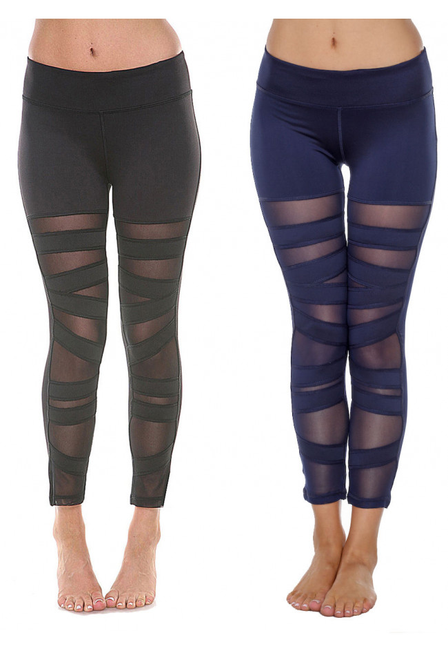 Women's Mesh Leggings Yoga Gym High Rise W/ Ripped Stretch Trousers