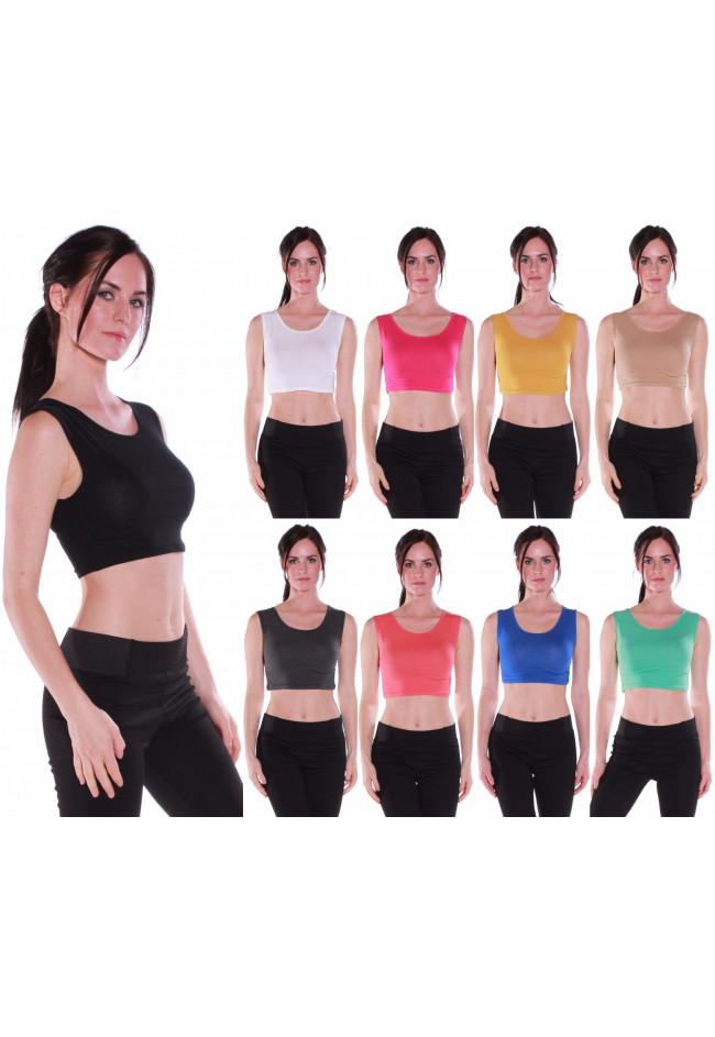 Women's Active Muscle Crop Tank Top Shirt Tee-Various Colors