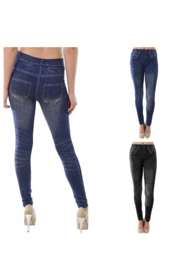 Women Jean Leggings One Size Skinny Jegging Denim Stretch Long Pants Blue Black