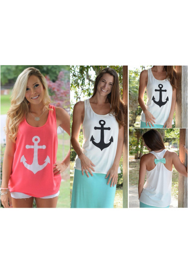 Fashion Womens Summer Bow Vest Top Blouse Casual Tank Tops T-Shirt