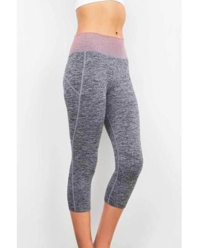 New Trendy Contrast Waistband Gym Workout Yoga Calf Length Mid Rise Capri Pants