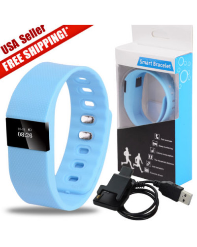 TW64 Waterproof Bluetooth Smart Wrist Watch Bracelet for Android Iphone Sky Blue