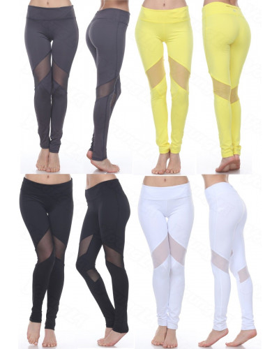 WOMEN'S MESH LEGGINGS YOGA GYM ACTIVEWEAR W/ STRETCH TROUSER LEGGING 3RD