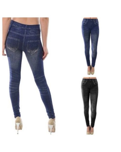 Women Jean Leggings One Size Skinny Jegging Denim Stretch Long Pants Blue Black