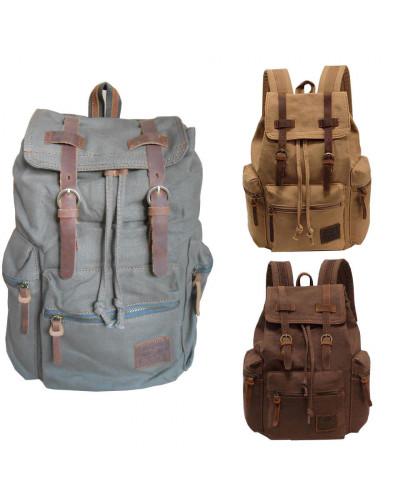 Canvas Travel Leather Backpack Sport Rucksack Camping School Satchel Hiking Bag