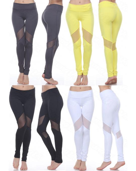 WOMEN'S MESH LEGGINGS YOGA GYM ACTIVEWEAR W/ STRETCH TROUSER LEGGING 3RD