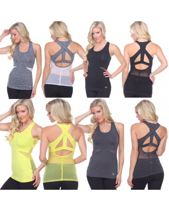 Women's Mesh Tank Top Gym Yoga sleeveless open back Activewear 5 colors