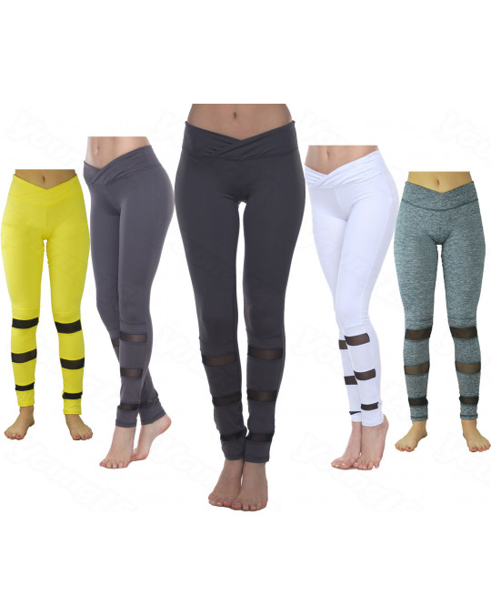 WOMEN'S MESH LEGGINGS GYM YOGA WITH POCKET STRETCH TROUSERS 5 COLORS