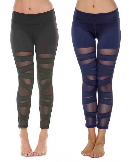 Women's Mesh Leggings Yoga Gym High Rise W/ Ripped Stretch Trousers