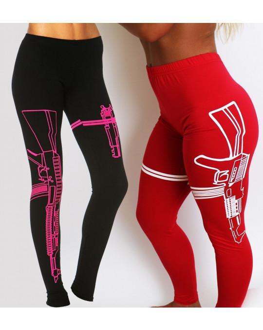 Machine Gun Leggings gym pants fitness apparel workout clothing yoga red pink