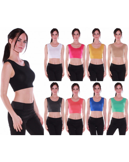 Women's Active Muscle Crop Tank Top Shirt Tee-Various Colors