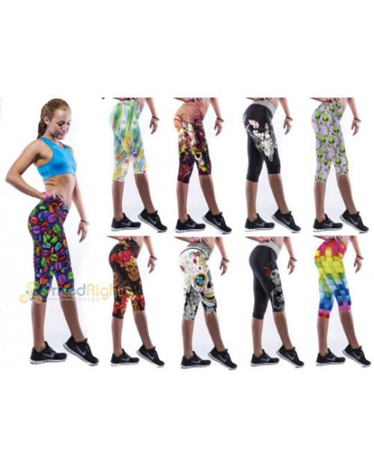 Sexy Design Print Womens YOGA Workout Gym Capri Pants Leggings Fitness Stretchy